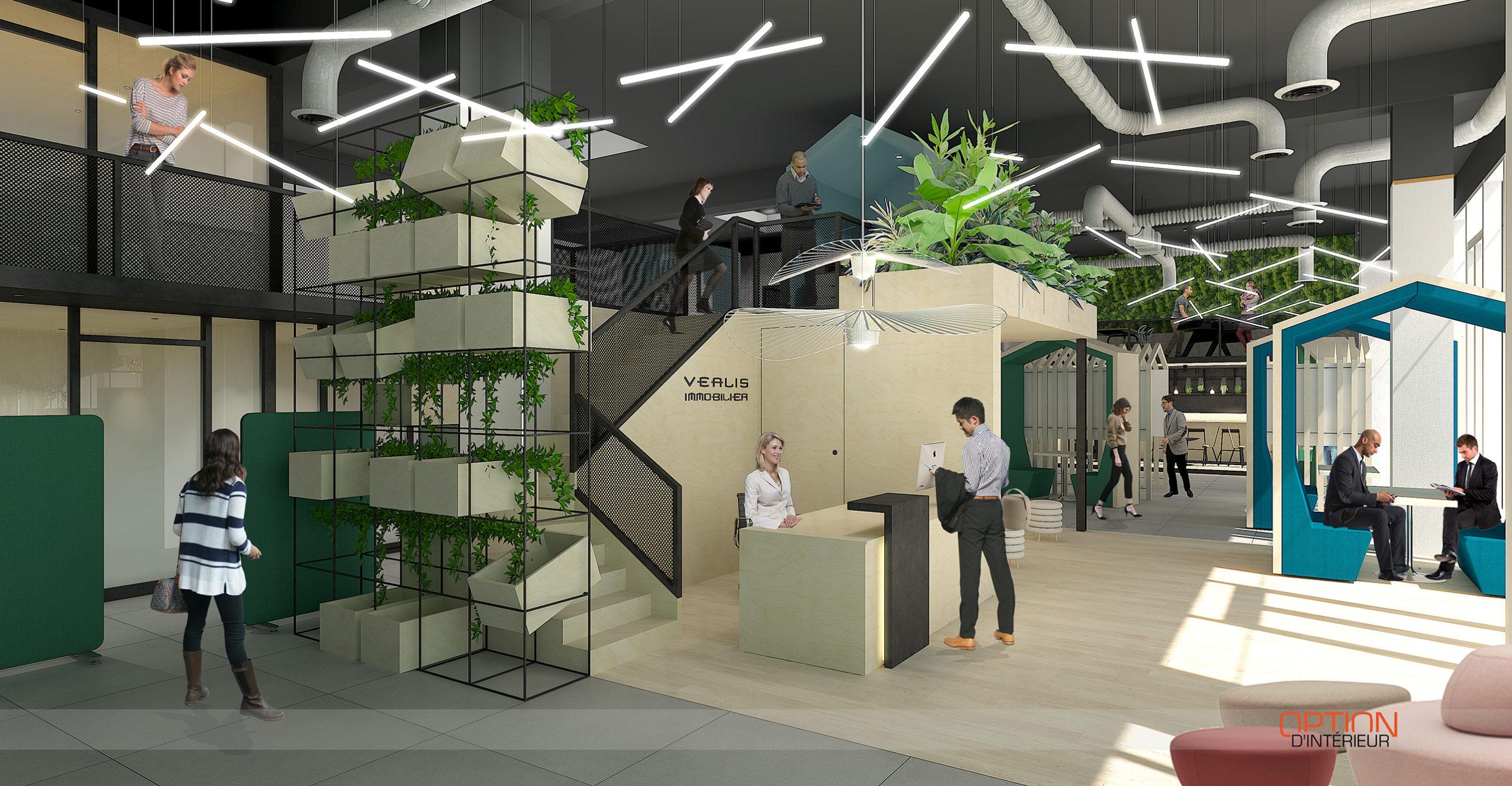 Agence d'architecture intérieure et agencer de bureaux commerciaux du siège social de Véalis immobilier