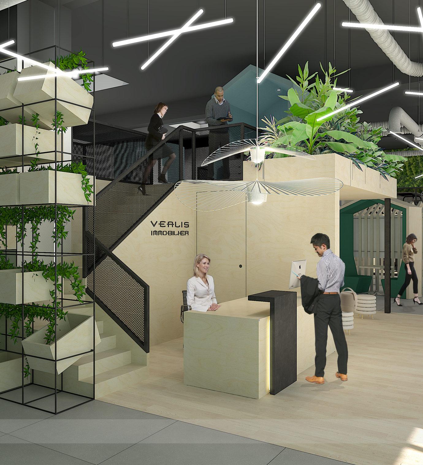 Projet de design d'espace et d'agencement du siège social de Véalis Immobilier
