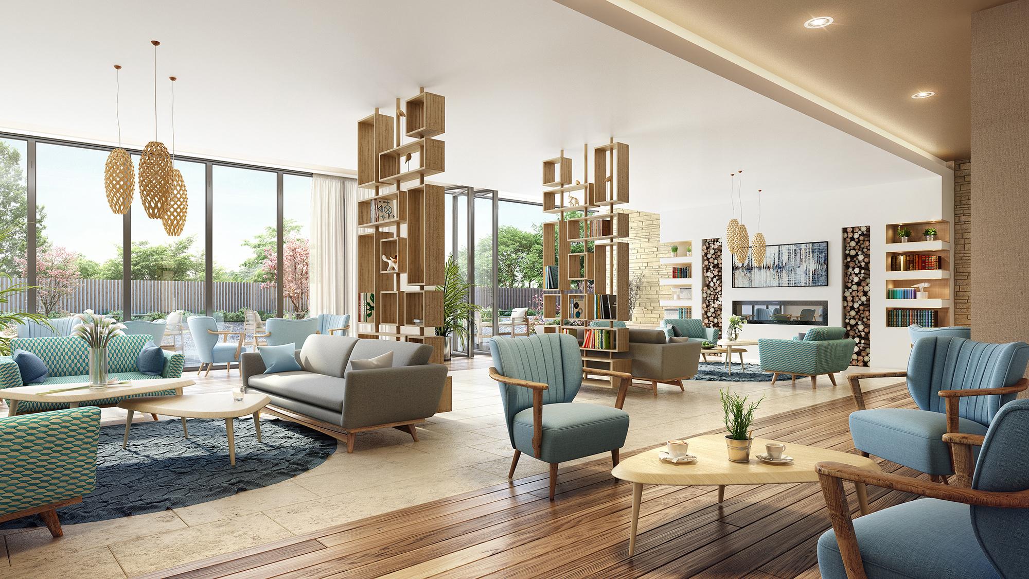 Aménagement et décoration intérieure des espaces communs de la résidence sénior Génération