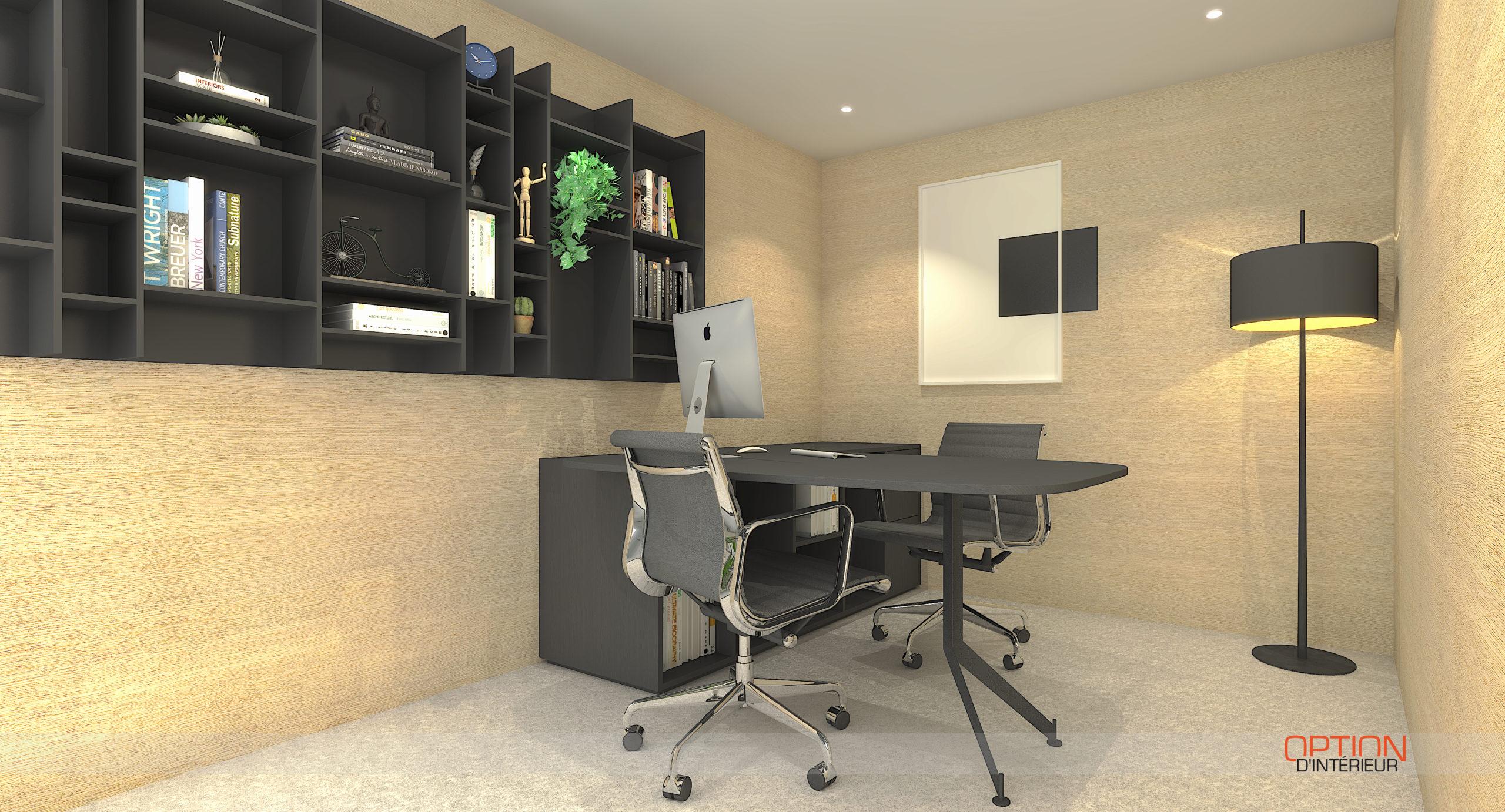 Perspective 3D de la création et de l'aménagement d'un bureau de direction