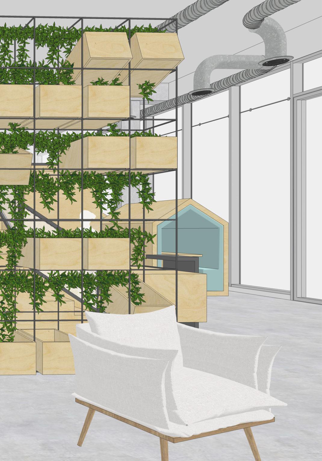 Rénovation du hall d'accueil du siège social de Véalis immobilier