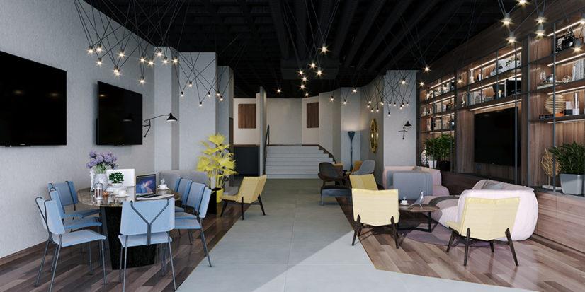 Décoration intérieur de l'Ibis de Nanterre préfecture sous le concept Plaza
