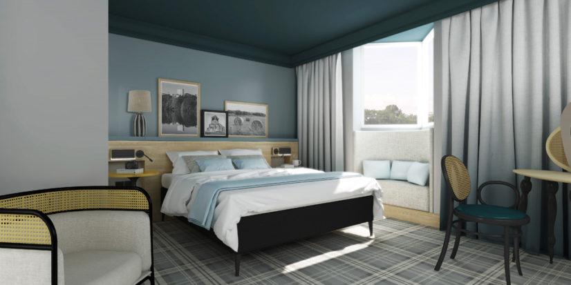 Décoration et aménagement des chambres de l'hôtel Mercure Villefontaine