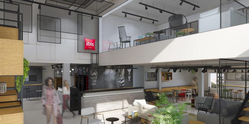 Décoration et aménagement intérieur sous le concept Plaza de l'hôtel ibis de Dijon