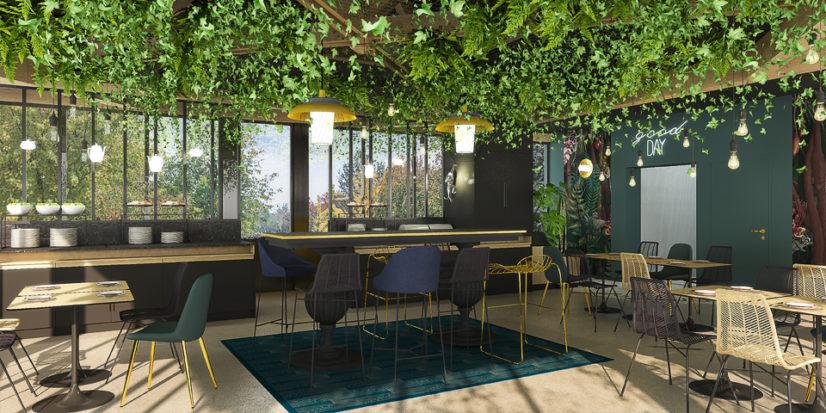 Décoration et aménagement intérieur sur le thème de la nature pour l'Ibis Styles de Terrasson
