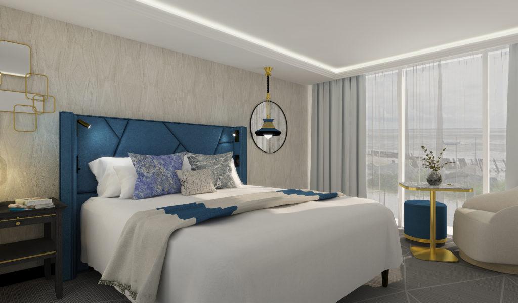 Perspective 3D des rénovation et décoration des chambres de l'hôtel du MGallery de Châtelaillon-Plage