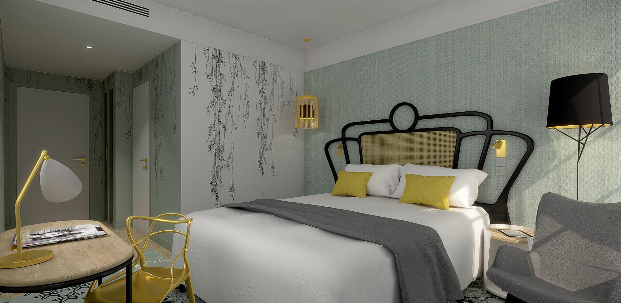 Perspective 3D des chambres dans un esprit champêtre chic