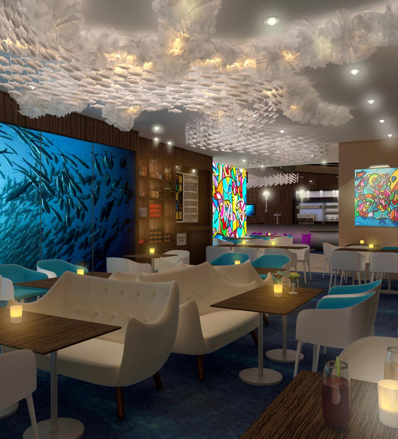 Perspective 3D du lobby de l'hôtel Ibis Styles de La Rochelle centre