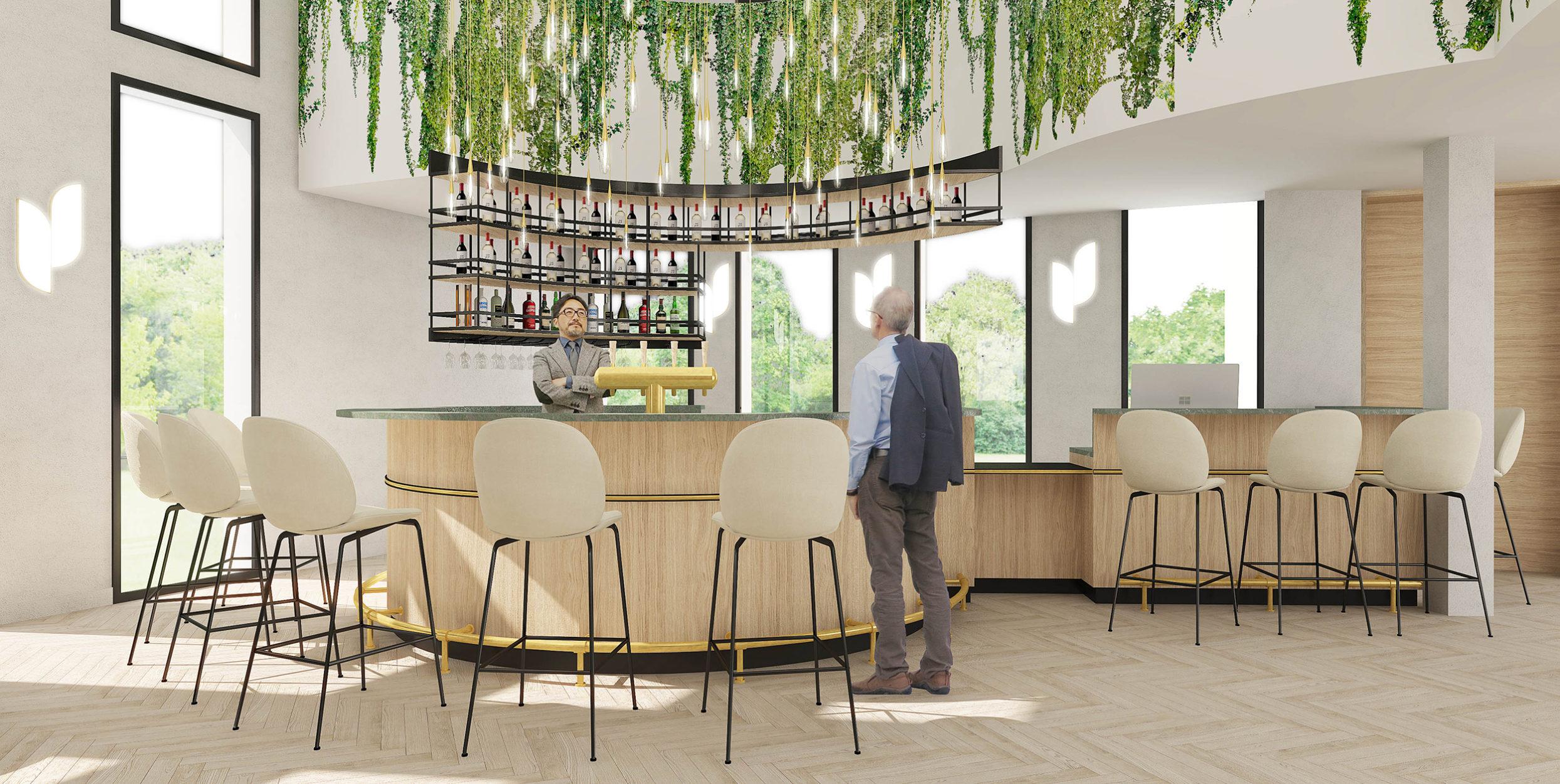 Perspective de l'agencement du bar de l'hôtel Mercure Portes de Sologne à Orléans