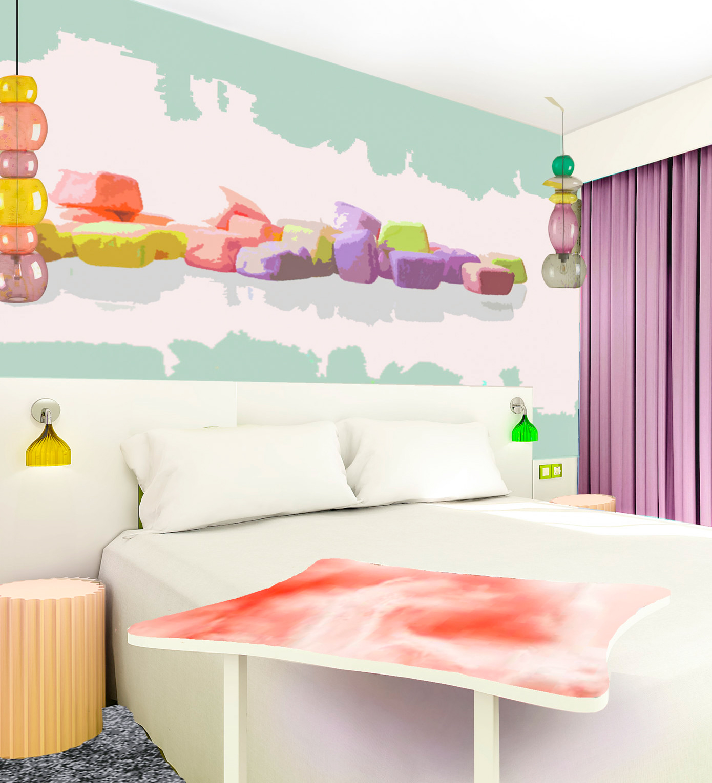 Perspective 3D des chambres de l'hôtel Ibis Styles de Fréjus Saint-Raphael