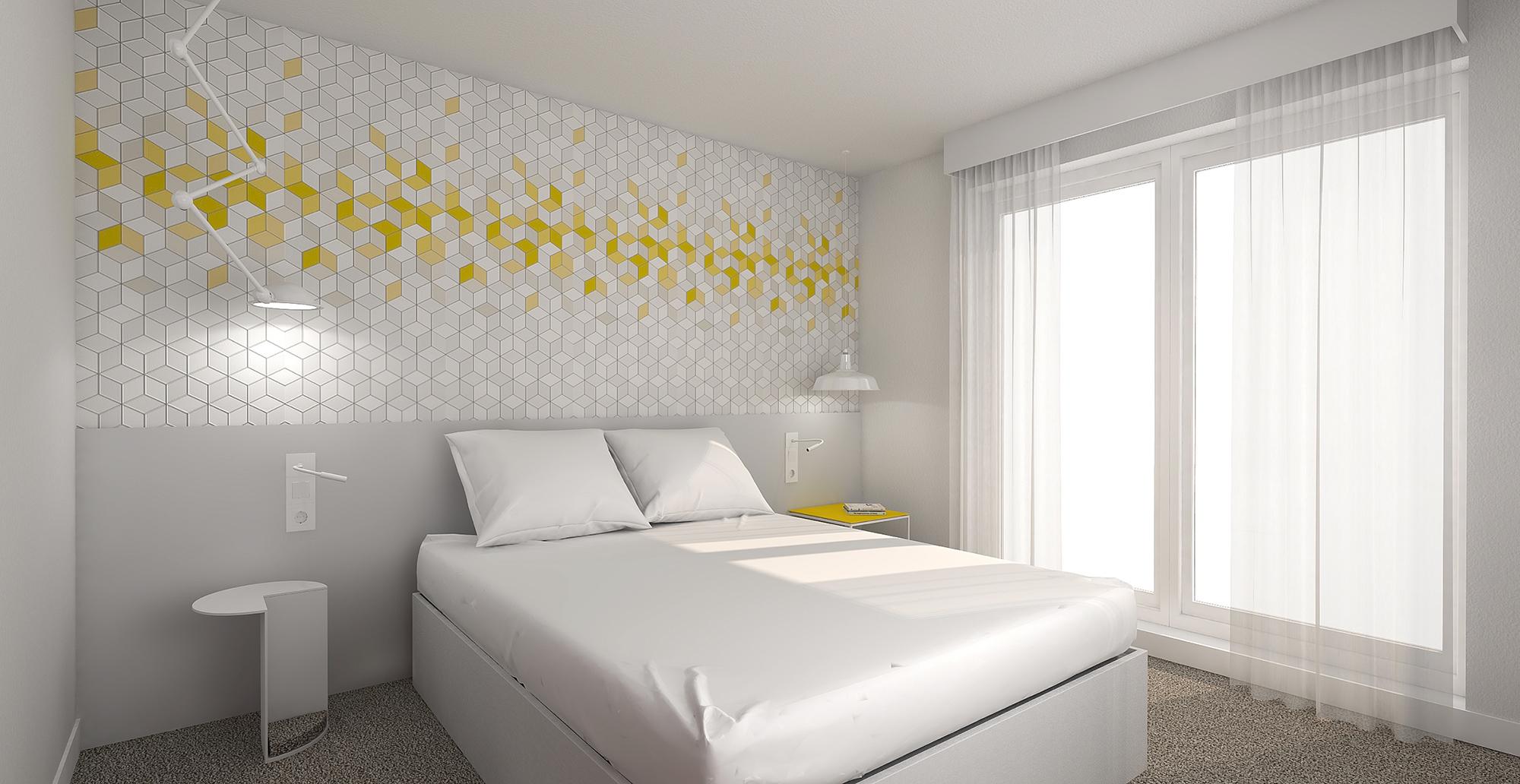 Perspective 3D pour la rénovation des chambres doubles de l'hôtel Ibis Styles de Poitiers