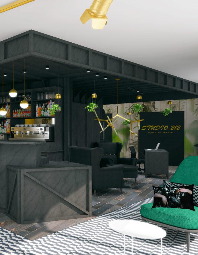 Agencement et aménagement de l'espace bar et lounge de l'hôtel Ibis Styles de La Plaine Saint-Denis