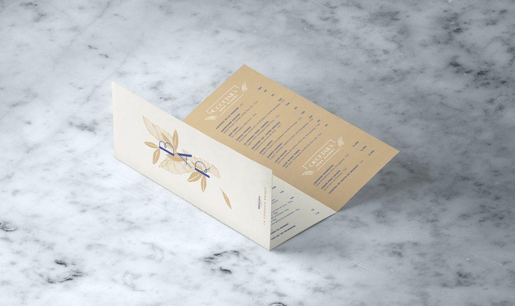 Création de support de communication, dépliants, cartes pour les restaurants et les hôtels