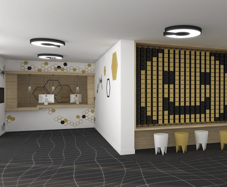 Perspective 3D du hall d'accueil de l'hôtel Ibis Styles de Poitiers Nord