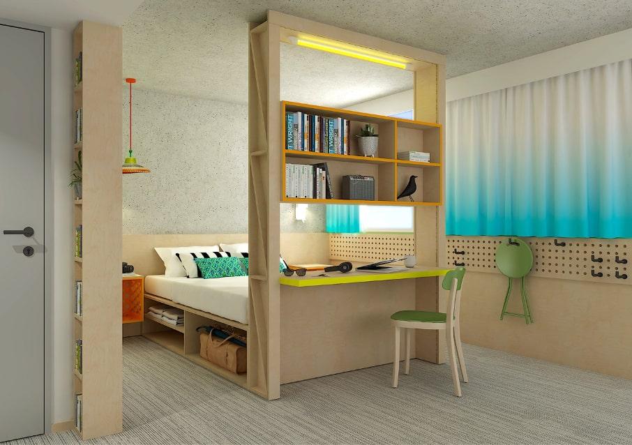 Une décoration fluo pour une chambre d'hôtel d'un concept Greet
