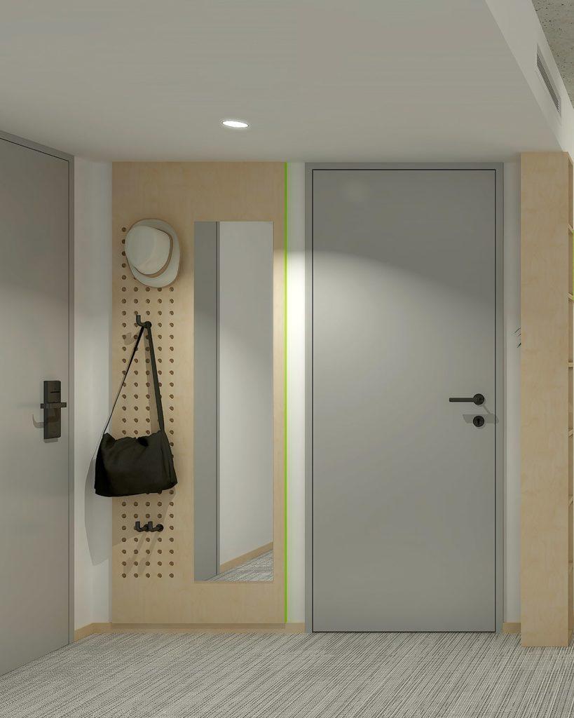 Une chambre avec des matériaux écologiques et recyclés pour la marque Greet
