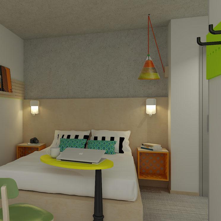Décoration des chambres de l'hôtel Greet avec des matériaux réutilisés et écoresponsables