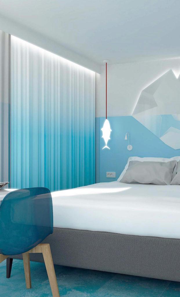 Perspective d'une chambre d'hôtel à thème