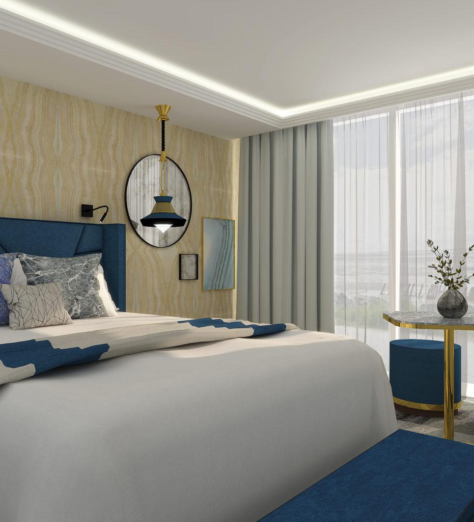 Agencement d'une chambre d'hôtel de prestige