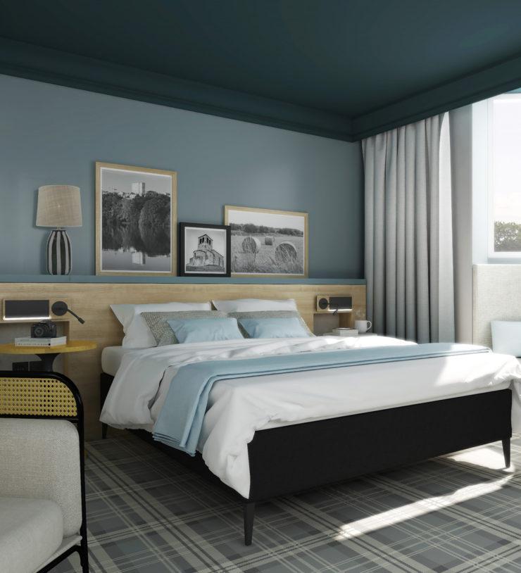 Décoration naturelle et cannage pour cette chambre d'un hôtel Mercure à Lyon