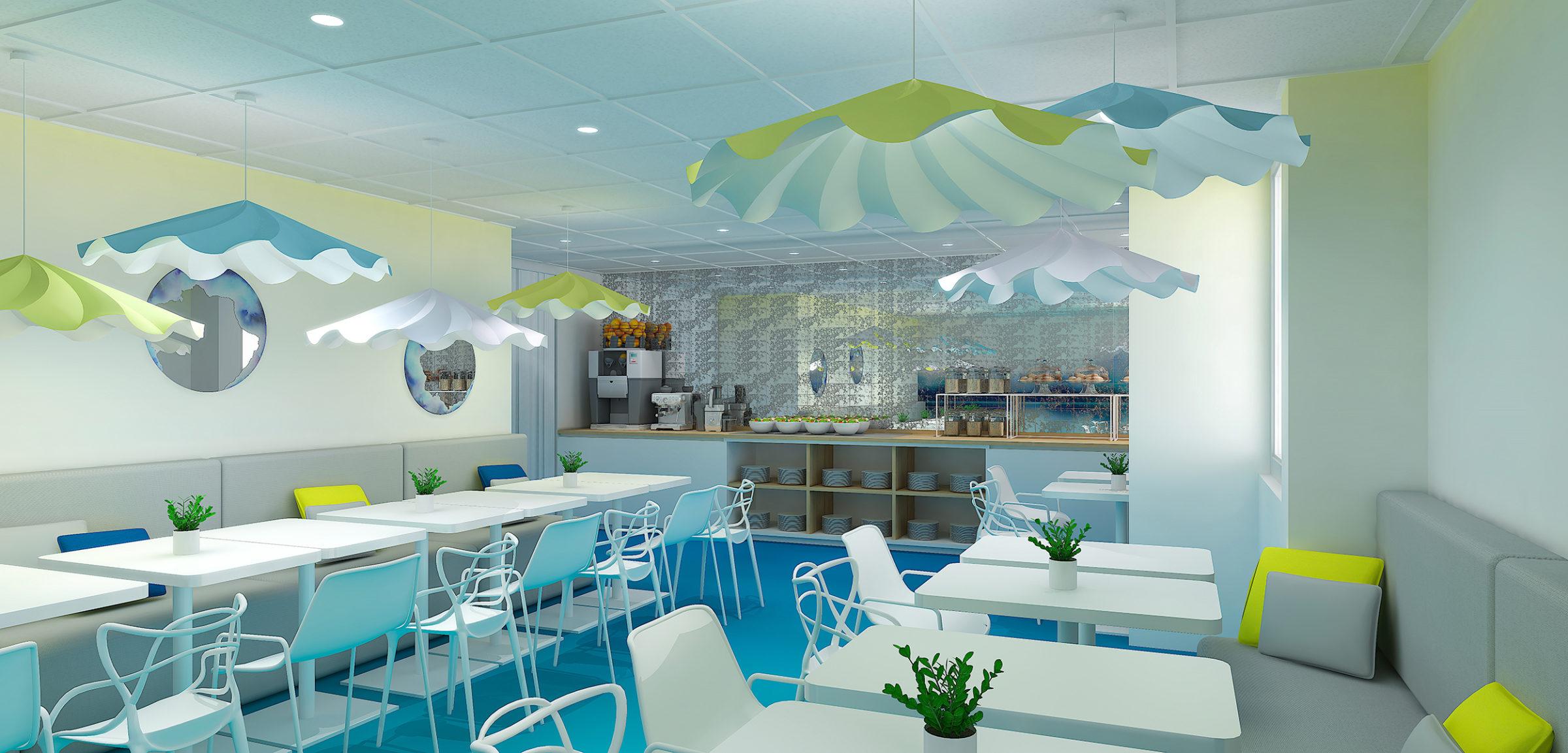 Réalisation de la décoration de l'espace bar et petit-déjeuner avec du mobilier Kartell