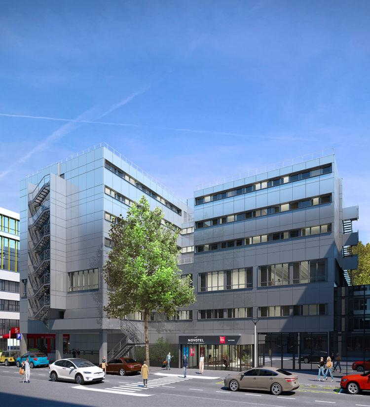 Perspective 3D des façades de l'hôtel Novotel et Ibis de Nanterre
