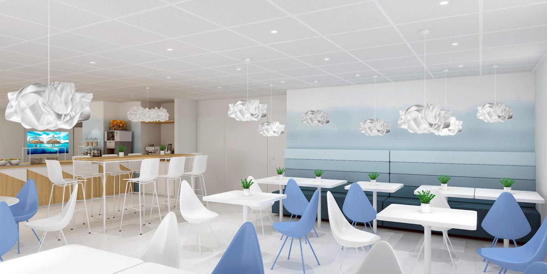 Rénovation et décoration de l'espace petit déjeuner sur le thème d'une nature polaire