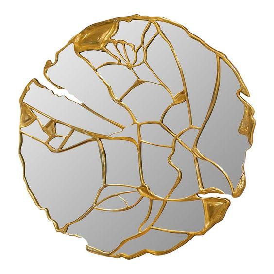 Miroir en verre avec jointure en or Kintsugi