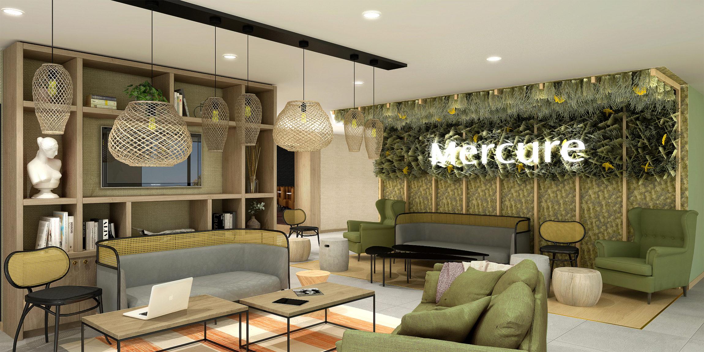 Futur hall d'accueil de l'hôtel Mercure de Villefontaine à la décoration champêtre, luminaire en osier, siège en cannage