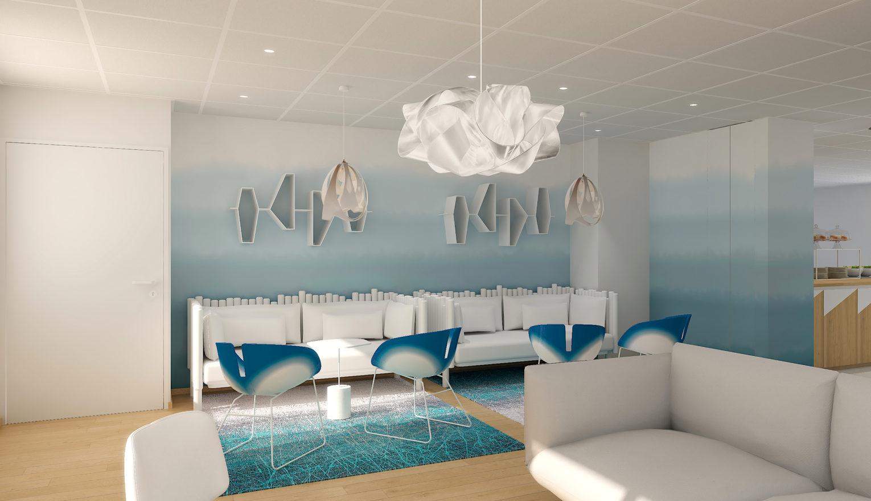 Espace détente dans des tons bleu et blanc gelé avec des assises confortables