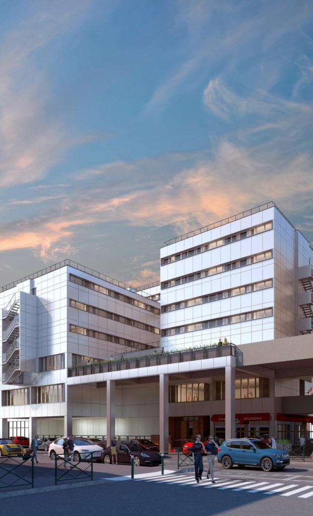 Perspective 3D de la façade sud du futur hôtel Novotel