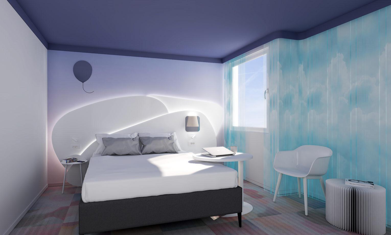 Perspective 3D de la chambre du futur hôtel Ibis Styles d'Eybens