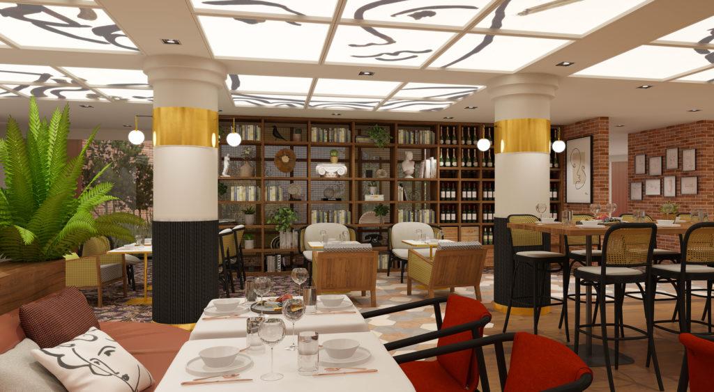 Réalisation de l'agencement et de la décoration intérieur du restaurant la Belle époque du Mercure de Villefontaine