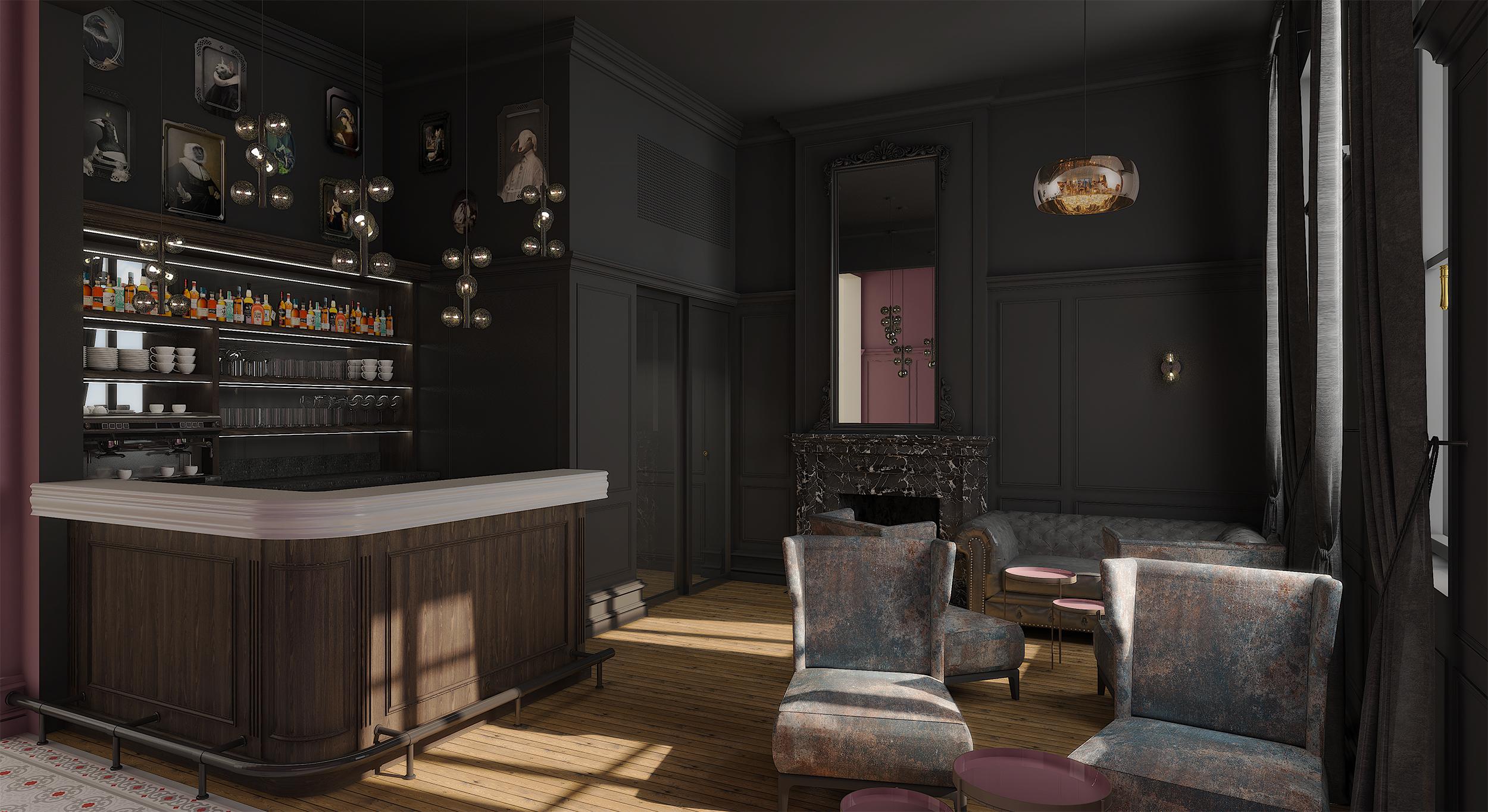 Décoration et agencement du bar et de la réception du restaurant le Petit Faurie de Soutard