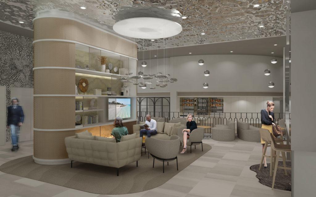 Agencement et décoration d'un hall d'accueil d'un hôtel Mercure avec des tons neutres