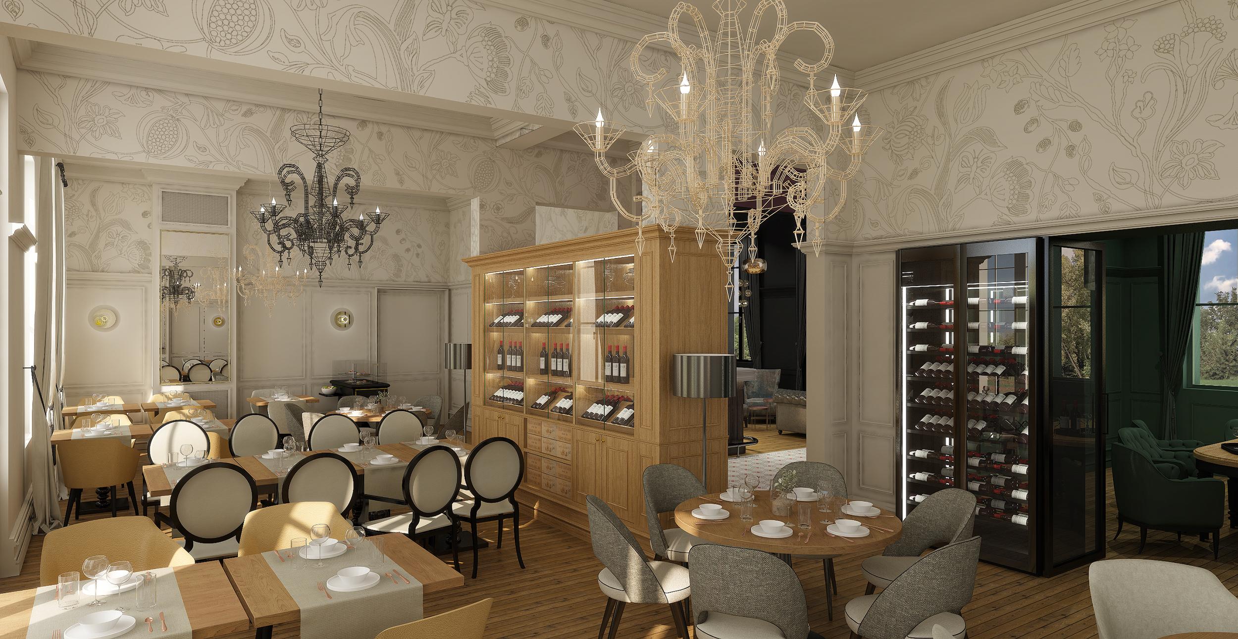 Rénovation, aménagement et décoration du restaurant bristochic du Petit Faurie de Soutard
