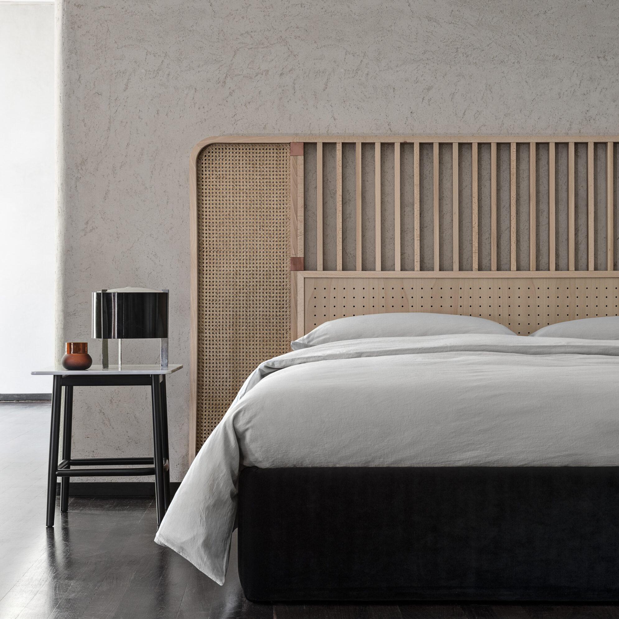 Tête de lit design en cannage