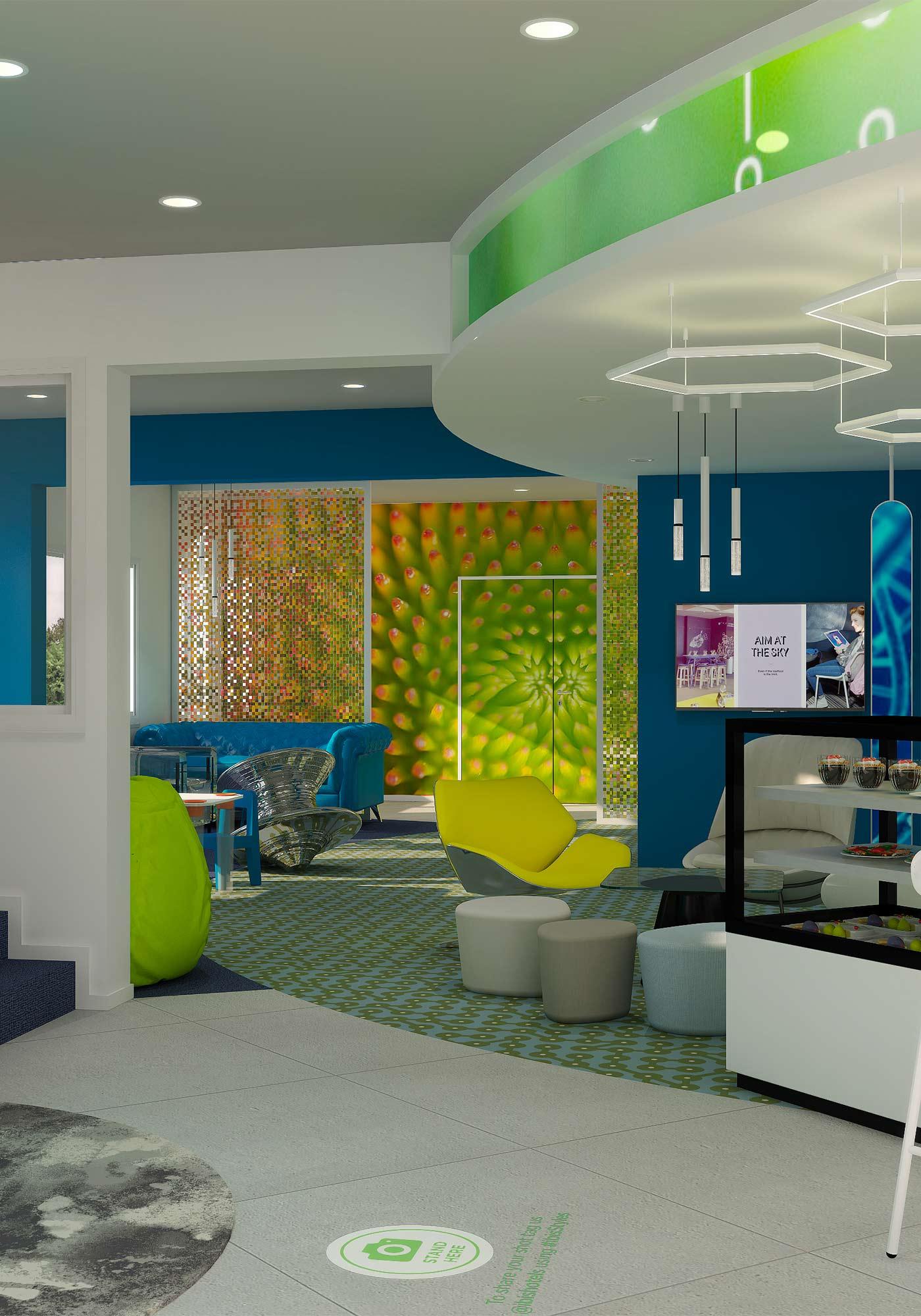 Perspective 3D de l'espace lounge de l'hôtel Ibis Styles de Fougères