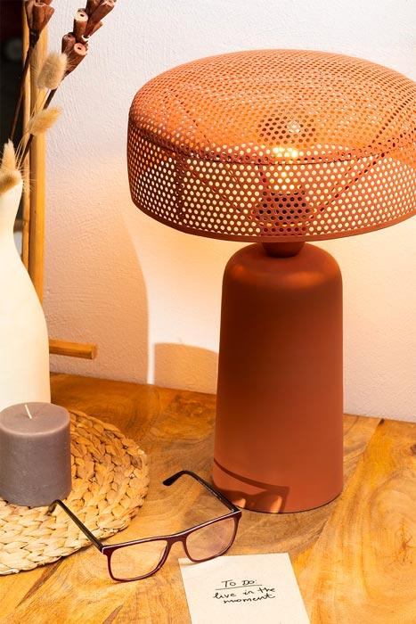 Lampe de chevet industrielle en acier de couleur terracotta