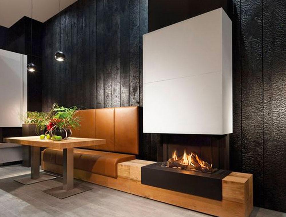 Mur intérieur en bois brûlé
