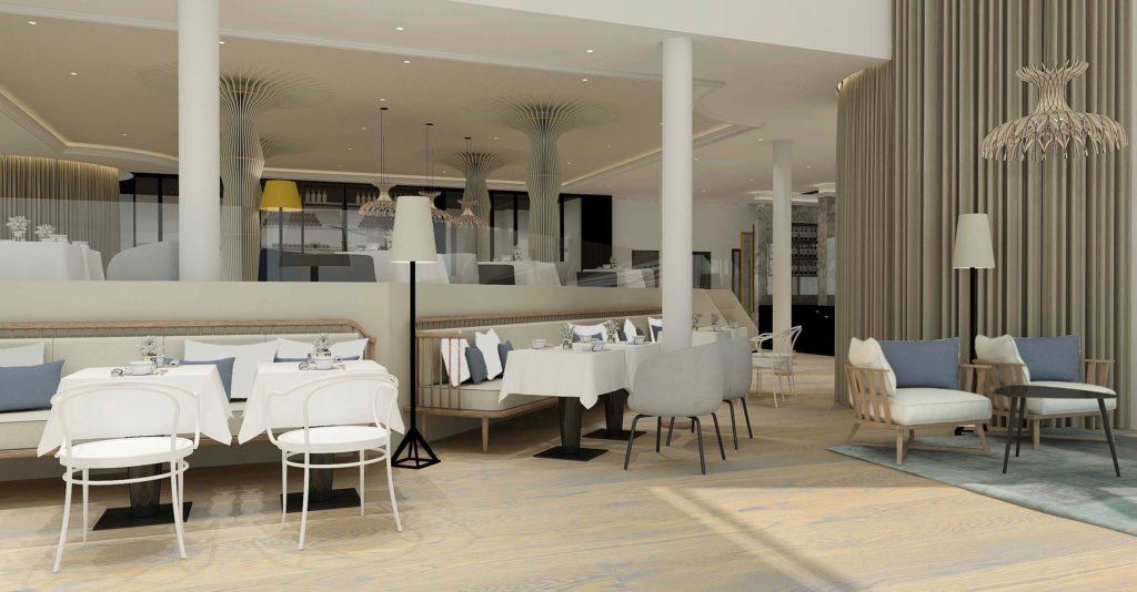 Perspective 3D de la partie basse du restaurant Gaya
