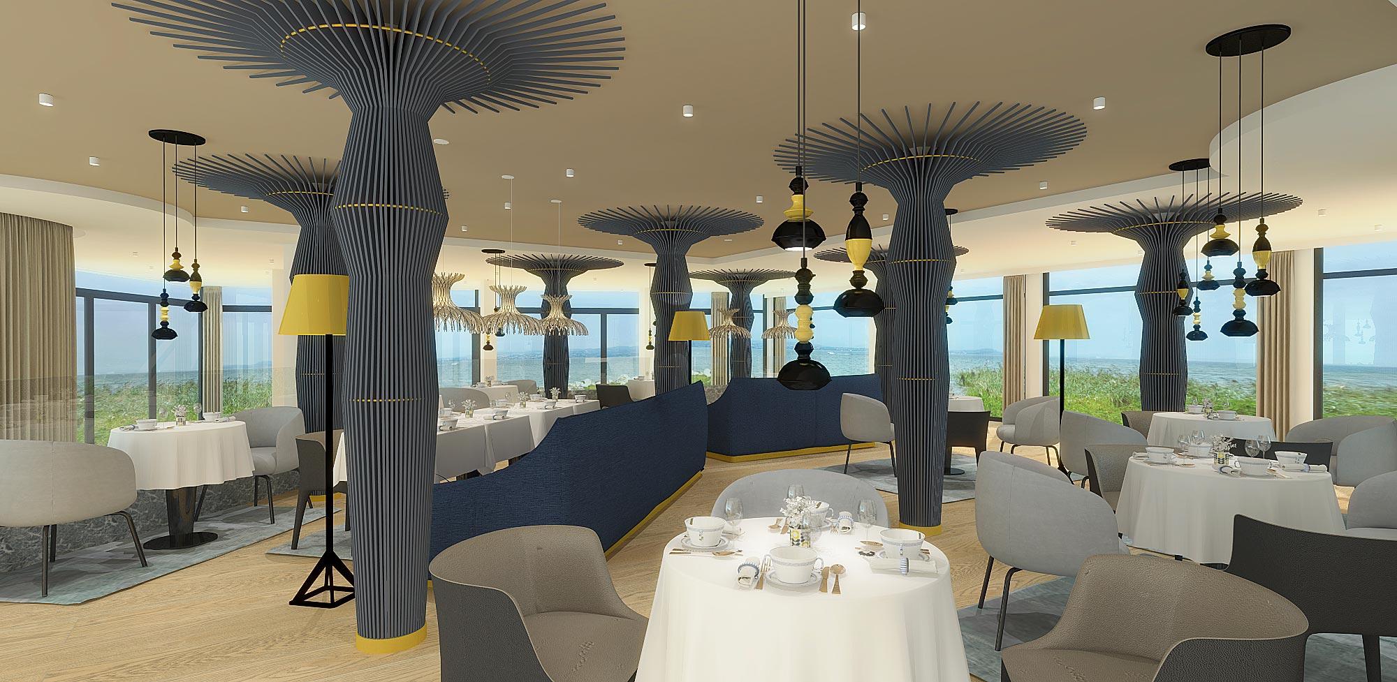 Perspective 3D de la partie haute du restaurant Gaya de Châtelaillon-Plage