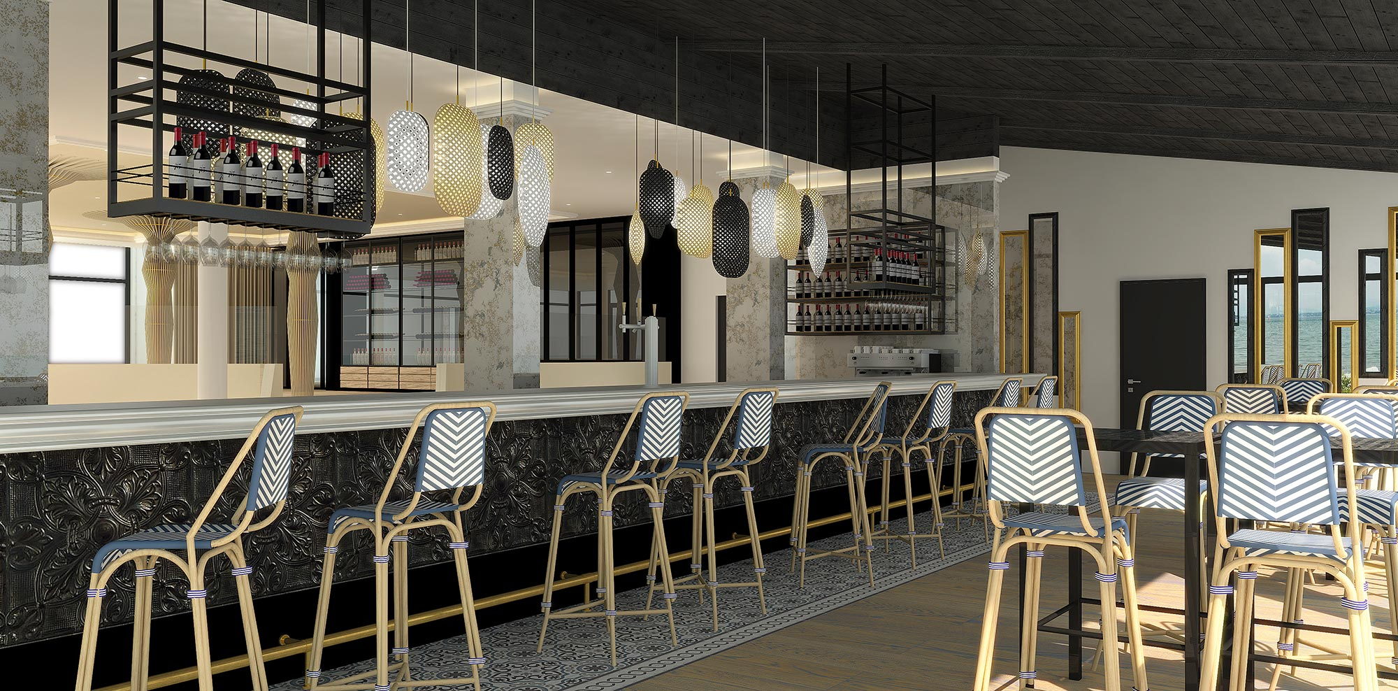 Perspective 3D du bar du restaurant Gaya
