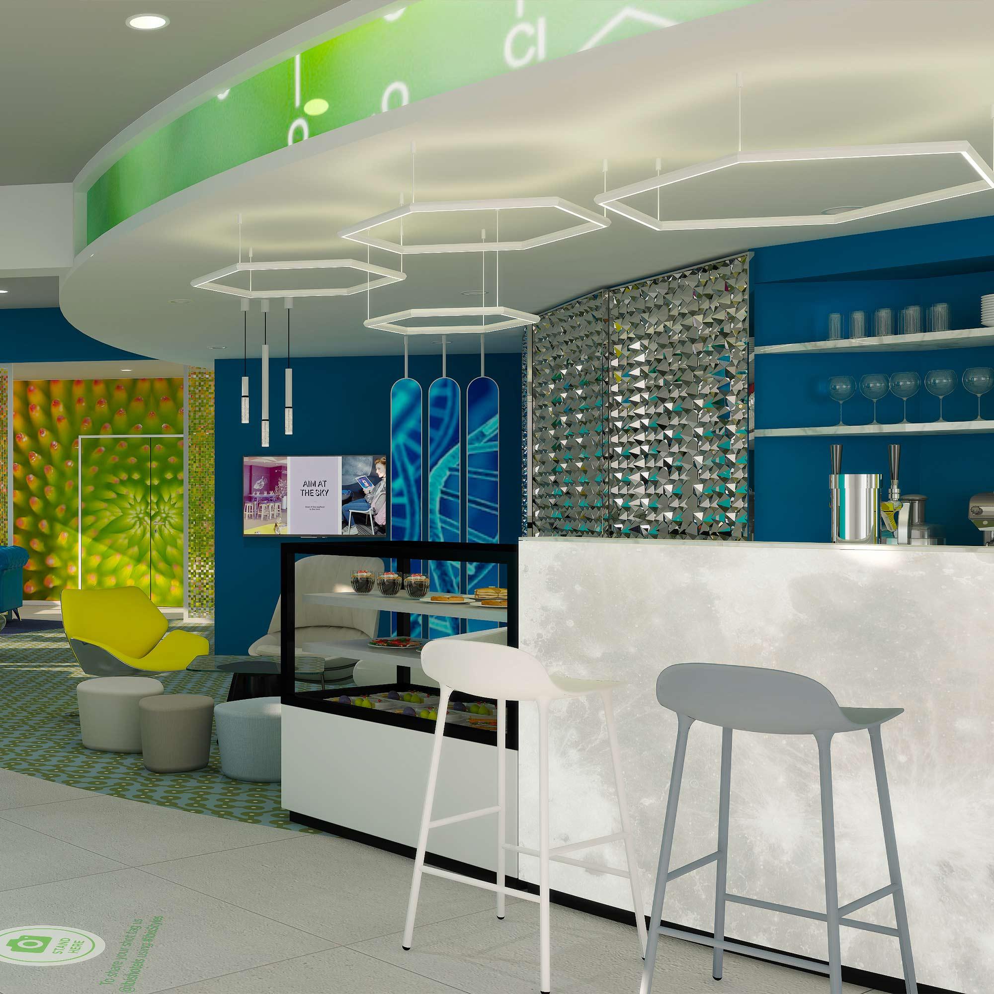 Perspective 3D space planing du bar de l'hôtel Ibis Styles de Fougères