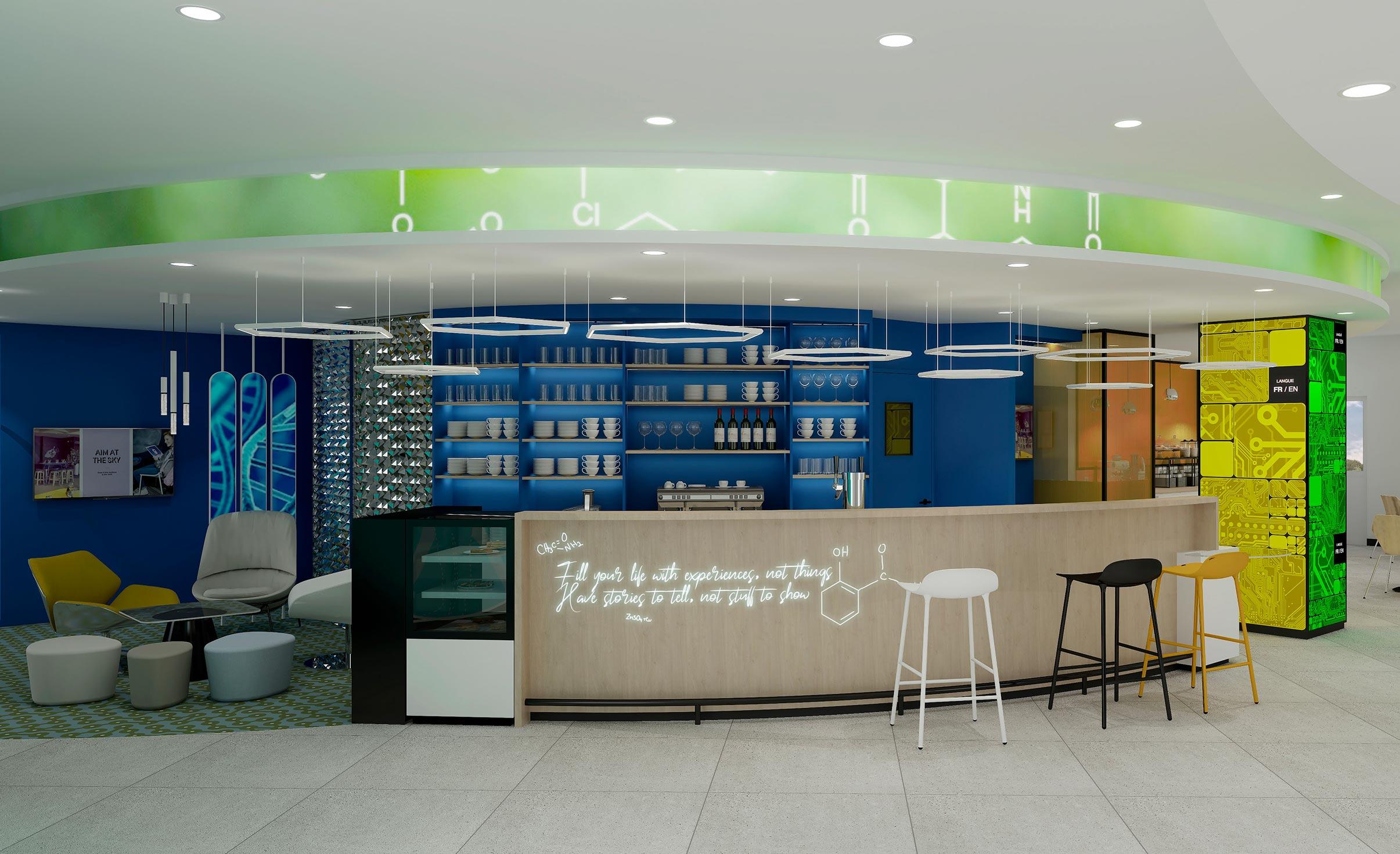 Perspective du bar et des services généraux de l'hôtel Ibis Styles de Fougères