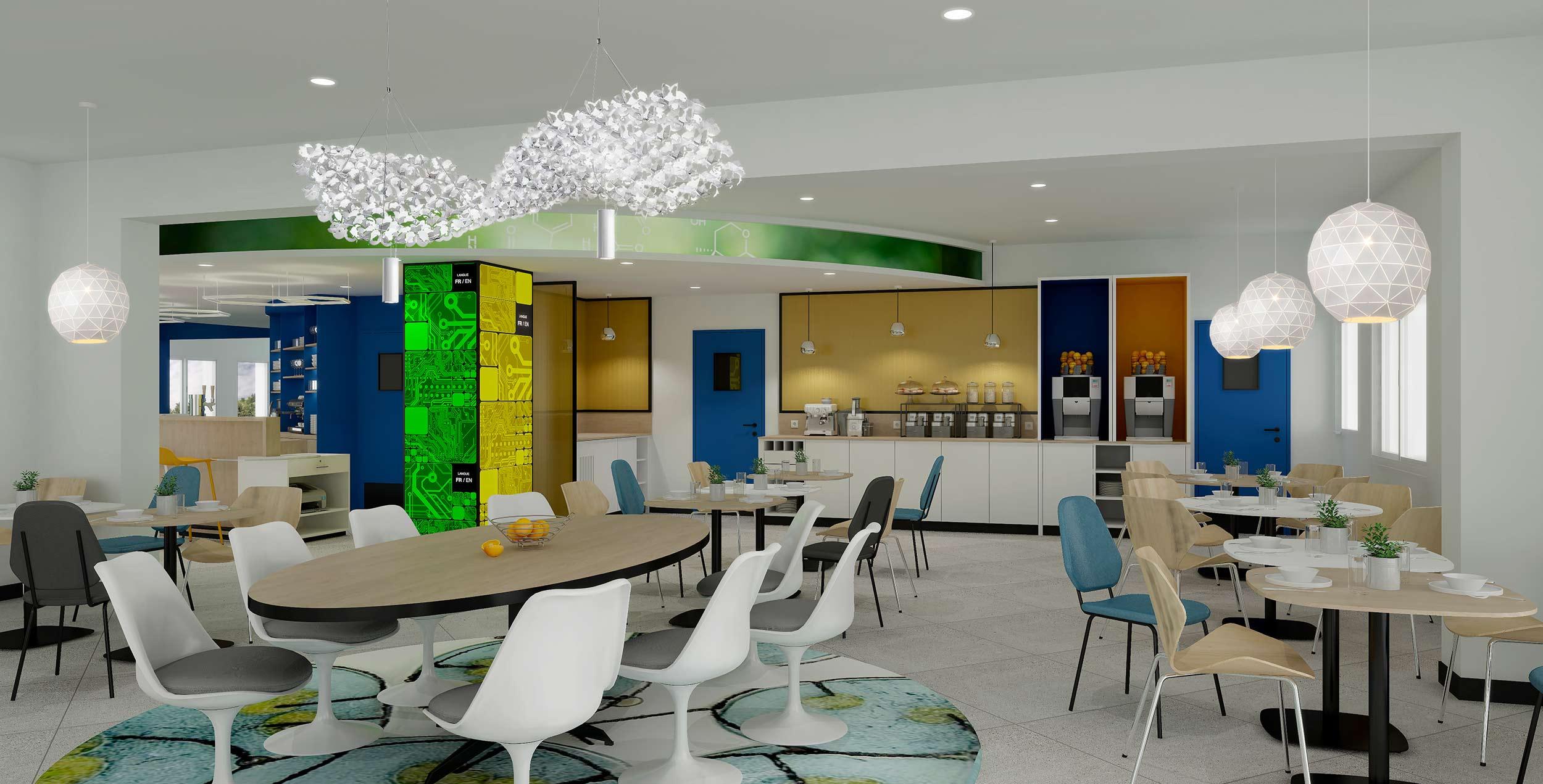 Perspective de l'espace petit déjeuner de l'hôtel Ibis Styles de Fougères