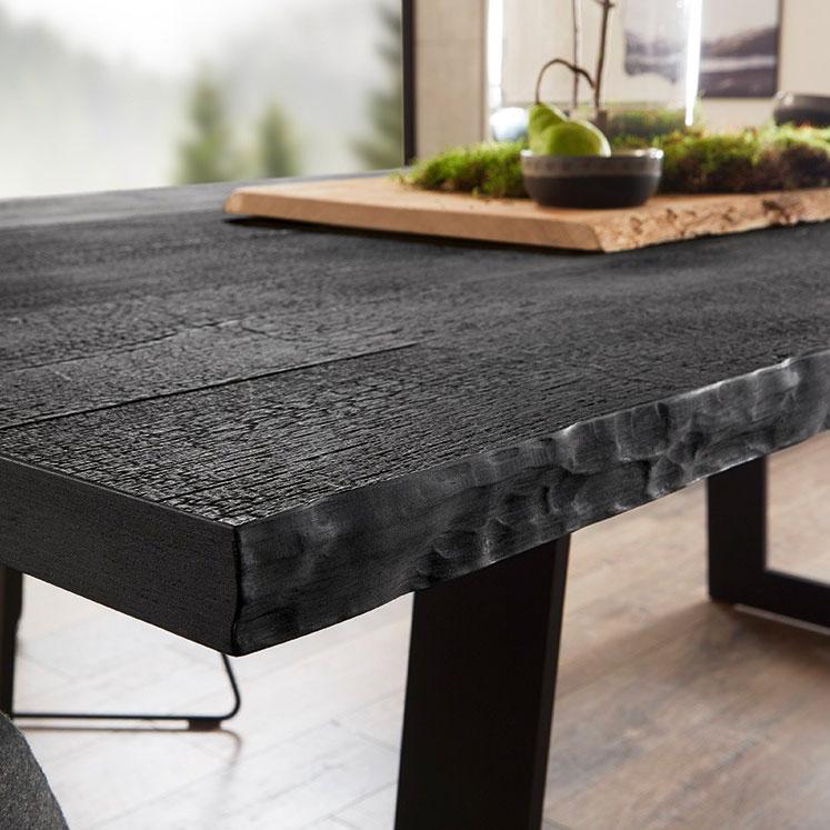 Table de salle à manger en bois brulé Shou Sugi Ban