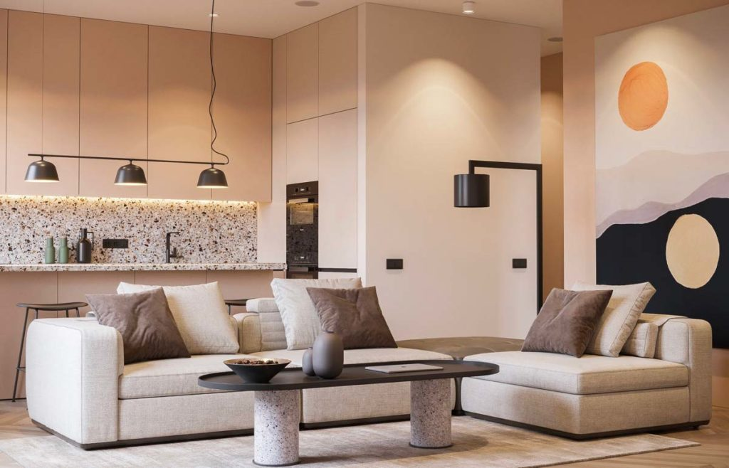 Cuisine et salon design avec crédence et plan de travail en terrazzo