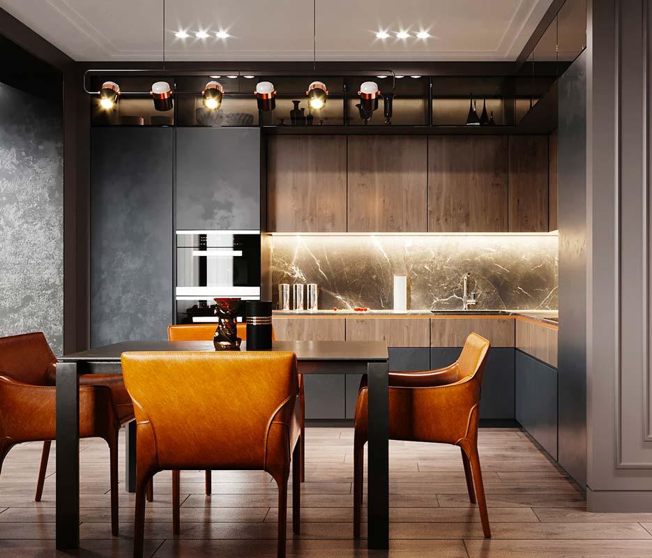 Cuisine moderne et design avec une crédence en marbre gris et des meubles en bois de couleur miel
