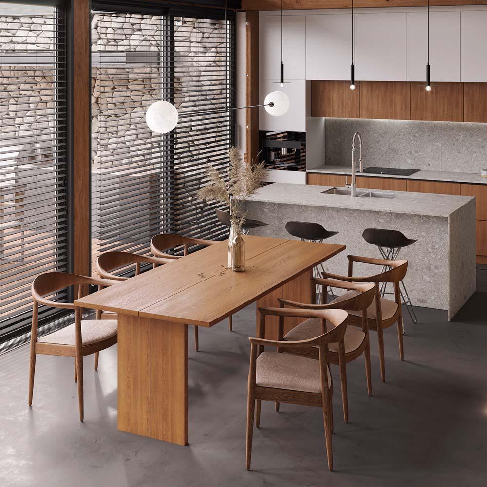 Cuisine scandinave chic en terrazzo, îlot et plan de travail monochromatique gris et mobilier en bois